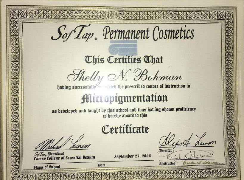 permanent-cosmetics-of-utah-softtap-certificate